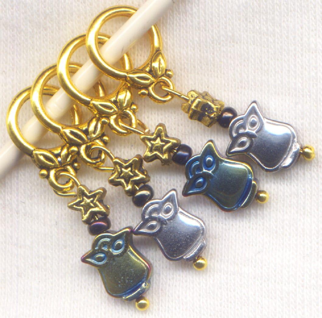 Knitting Lifeline With Stitch Markers : Owl Knitting Stitch Markers PhatFiber Hematite Set of 4 /SM47C