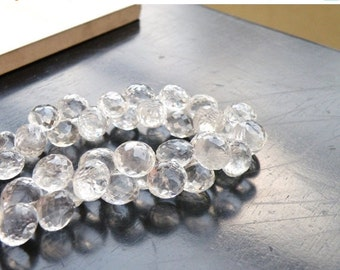 Clearance SALE Rock Crystal Quartz Gemstone Briolette Faceted Onion 7.5mm Full Strand 46 beads