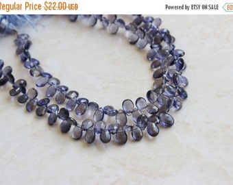 51% Off Sale Iolite Gemstone Briolette Faceted Teardrop Pear Top Drilled 9 to 10mm 18 beads