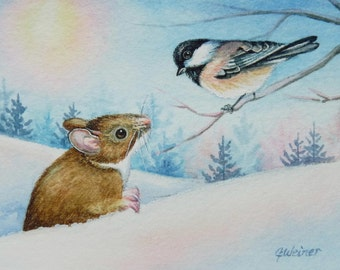 Winter Field Mouse & Chickadee Bird Limited Edition ACEO Giclee Print reproduced from the Original Watercolor