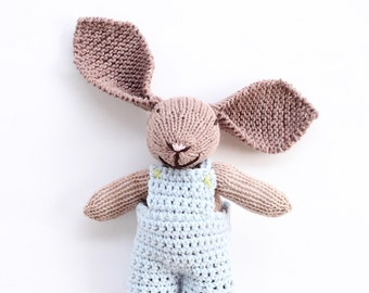 Baby boy baptism gift,  bunny toy, blue baby soft toy, baby boy gift, soft toys, knitted toys, newborn photography prop, baby gift