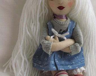 SPECIAL OFFER Final Reduction Embroidered Boudoir Cloth Art Doll White Hair in casual clothes