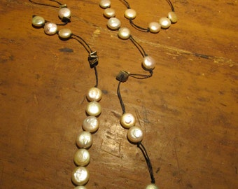 Gypsy Boho Coin Pearl Necklace Free Shipping