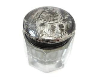 Sterling Vanity Jar - Art Deco Silver Lid, Cut Glass