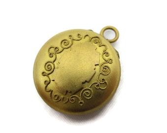 Antique Victorian Locket - Edwardian Shield Locket, Gold Plate, Watch Fob Pill Box, Estate Jewelry