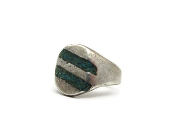Sterling Statement Ring - Silver, Turquoise Inlay, Mexico