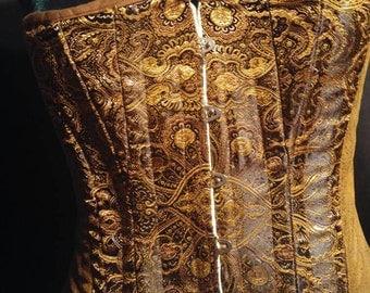 Brown Gold Brocade Antiqued Brass Boned Corset