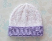 PREEMIE HAT - to fit 2.5 to 5.5 lb baby girl - NICU Kangaroo Care - white baby yarn with flecks of pale pink and purple and pale purple brim