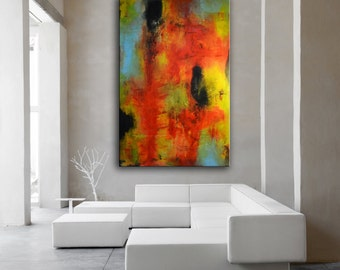 Original acrylic red painting on canvas, Red Abstract art, green painting, Red orange blue art, red blue painting, Huge abstract