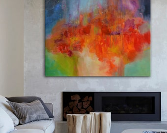 Abstract painting, red painting, Red green painting, Red orange green art, red blue painting, Orange Blue art,  large red abstract painting