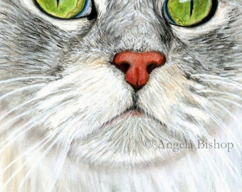 Cat Painting Print, Kitty Green Eyes, Cat Print, Art Print, White, Gray, Cat, Pet, Portrait, 8 x 10, Realism, Giclee, Pastel, Painting