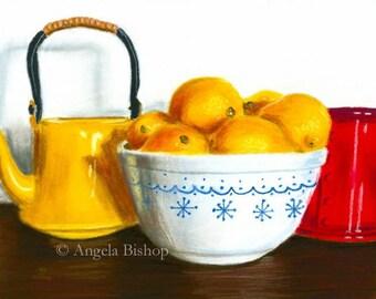 Lemon Still Life Painting Print, When Life Gives You Lemons, Still Life, Fruit, Tea Pot, Kitchen, Home Decor, Giclee, 5 x 7, Pastel