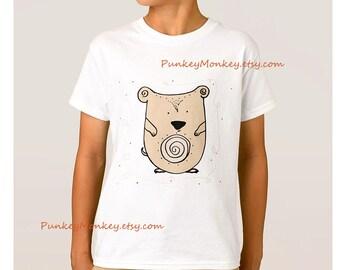 Hamster t-shirt kids to teen shirt choose your size  xs s m l  100 percent cotton tagless tshirt boys girls pet hamster hammie kawaii cute