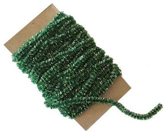 5 Yards Made In USA Green Rayon Chenille And Silver Tinsel Cording