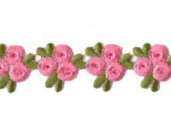 "Fancy 1 Yard Woven Pink Triple Rose Embroidered Embroidery Trim 3/4"" Wide"