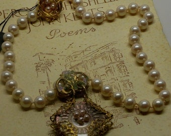Antique Victorian MOP Shell Button NECKLACE Blush Glass Pearls RGP Filigrees Beach Bridal Wedding Boho Miriam Haskell Elements