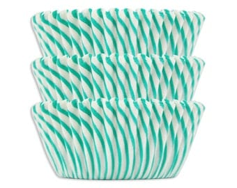 Green Candy Stripe Baking Cups - green striped cupcake liners, cupcake papers