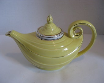 Vintage Hall Aladdin Yellow Teapot With Gold Trim