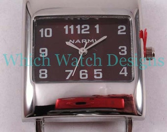 CLEARANCE Funky Rectangle.. Brown or Silver Interchangeable Ribbon Watch Face, Solid Bar