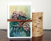 Pinecone notecards, All occasion cards, Watercolor notecards, Blank notecards