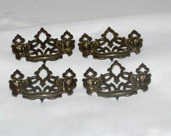 Brass  Drawer Pulls - Set of FOUR.   Twenty-Four Available   - Vintage