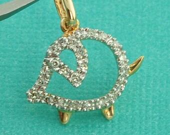 Solid 14K Yellow Gold Diamond Piggy Pig Charm Necklace Pendant