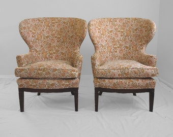 1940's antique oversized mahogany frame wing back chairs