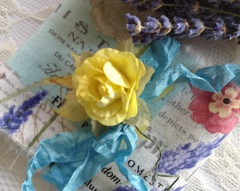 SPRINGTIME IN FRANCE - Floral  French Country Paris Ribbon - Dafodils  - Clematis - Lavender - Ribbon Trim