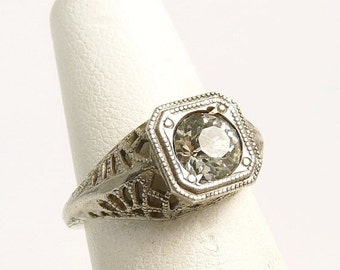 Vintage Art Deco Sterling Silver Engagement Ring Size 4