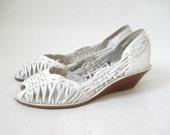 Vintage 80's Woven Leather Peep toe Huaraches. Size 7