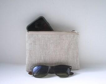 Mini Linen Clutch, Small Zippered Bag, Small Clutch, Small Wristlet, Minimalist Bag