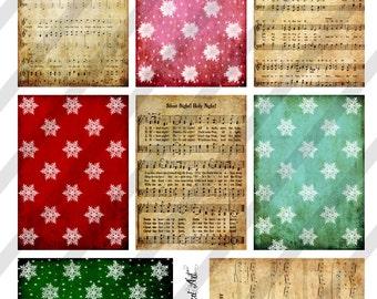 Digital Collage Sheet Vintage Christmas Background Images, ATC Size Backgrounds (Sheet no. O248) Instant Download
