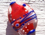 Lampwork Focal Bead - red, white, blue - Battle of Concord - SRA AutEvDesigns, ISGB