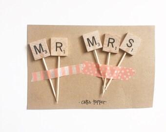 MR & MRS scrabble cake topper