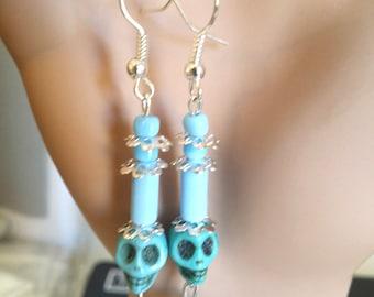 blue turquoise sugar skull earrings day of the dead long dangles punk rock handmade jewelry