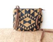 date purse  • small cross body purse • golden tweed - black geometric triangle print - mustard - dark brown waxed canvas • vukani