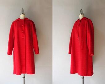 1950s Coat / Vintage 50s Apple Red Wool Coat / Fifties Warm Wool Winter Coat