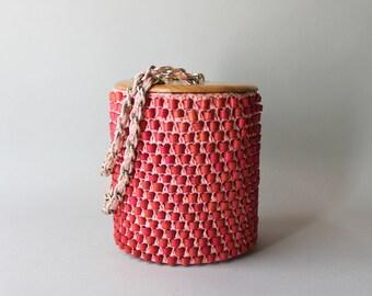 1950s Bag / Vintage 50s Bamboo Bead Bucket Bag / 1950s Pink Raffia Chain Handle Purse