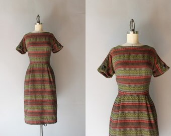 50s Dress / Vintage 1950s Wiggle Dress / 50s Autumn Pallet Woven Wiggle Dress
