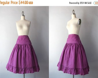 STOREWIDE SALE 1940s Skirt / Vintage 40s Striped Taffeta Skirt / 50s Ruffled Full Skirt