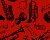 Musical Instruments Symphony Suite Red Black Blank Quilting Fabric 1 yard