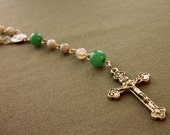 MARKED DOWN Green Jade and Agate Five Decade Rosary