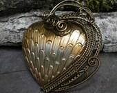 Gothic Steampunk Golden Heart Pin Pendant Brooch Part 1