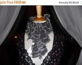On Sale Handknitted Ruffles Scarf in Dark Grey with Silver Trim