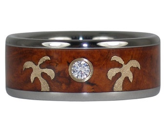 Beach Wedding Band with 14k Gold Palm Tree and Diamond Made in Hawaii