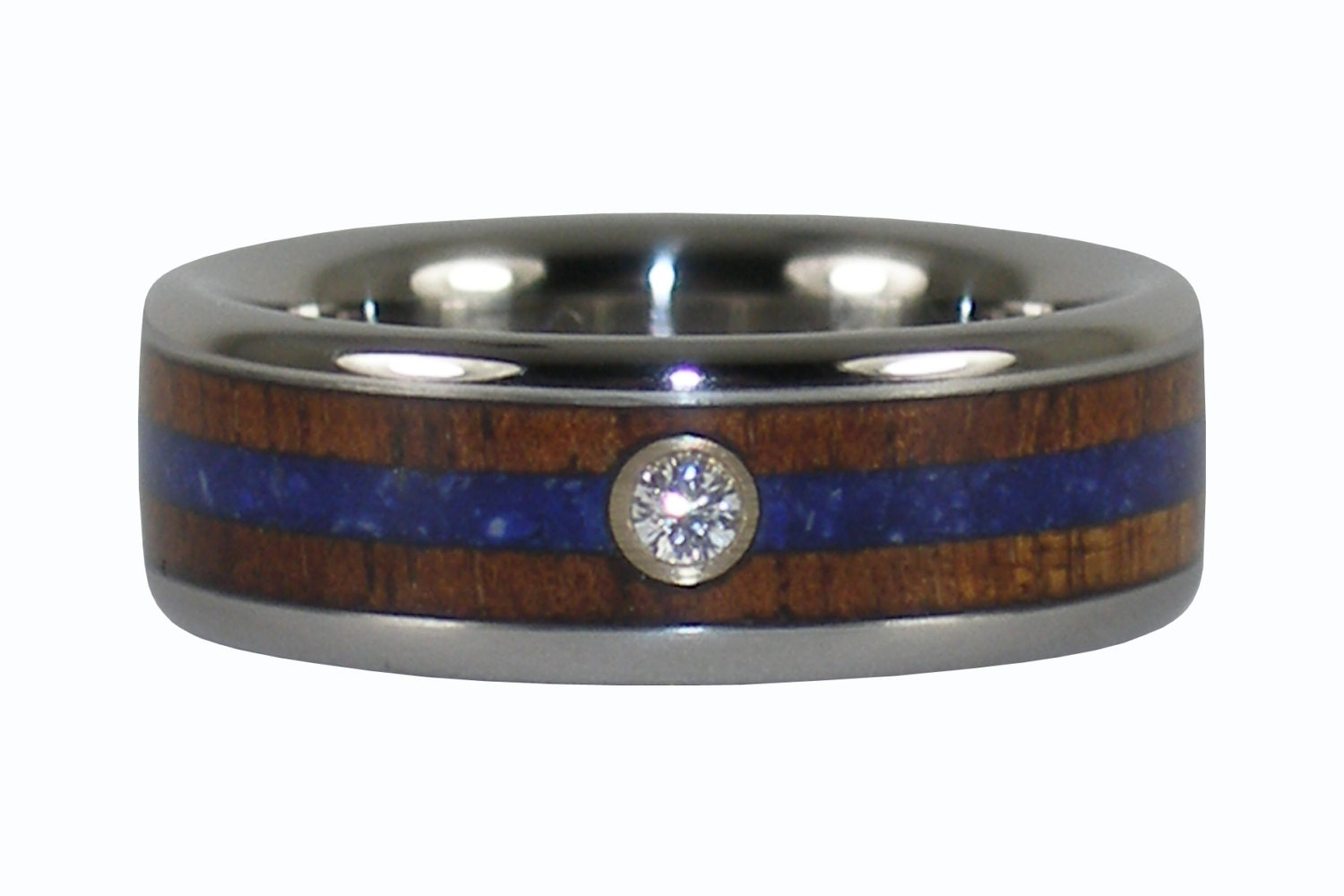 Diamond koa wood wedding band with lapis for Kona wedding rings
