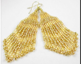 Native American Inspired Beadwork Seed Bead Earrings in Gold Fringe