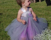 Flower Girl Tutu Dress-Double layered-choice of colors-Satin ribbon halter-bows