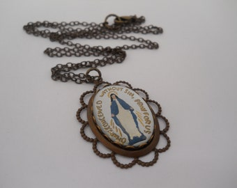 Vintage Glass Necklace Dark Brass Virgin Mary Holy Mother Catholic Jewelry Intaglio Hand Painted O Mary Conceived Without Sin Pray For Us