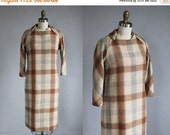 VALENTINES DAY SALE 1960s checkered plaid tan - grey wool mid - length dress / xs - s